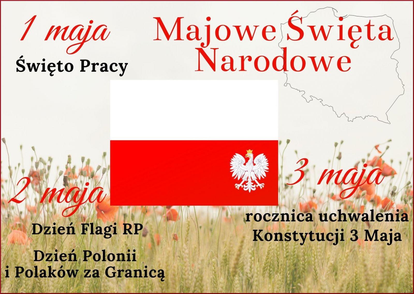 Zdjęcie plakatu informującego o majowych świętach narodowych 1 maja (Święto Pracy), 2 maja (Dzień Flagi, Dzień Polonii i Polaków za Granicą), 3 maja (rocznica uchwalenia Konstytucji 3 Maja).