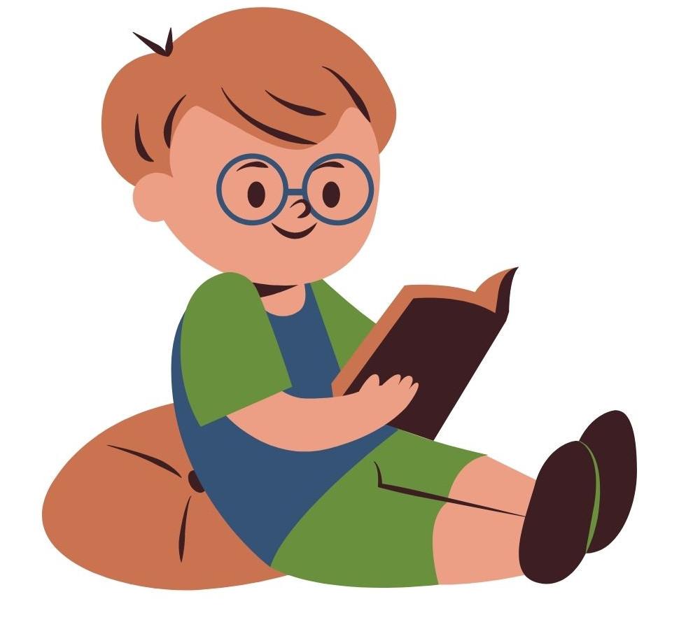 Zdjęcie obrazka z dzieckiem czytającym książkę.