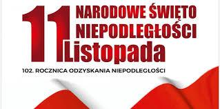 Plakat z napisem: 11 listopada Narodowe Święto Niepodległości. 102. rocznica odzyskania niepodległości.
