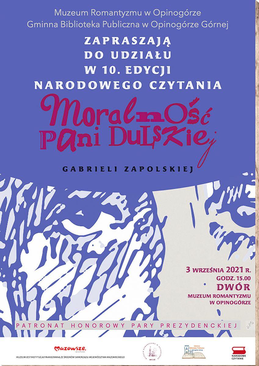 Zdjęcie plakatu informującego o wydarzeniu Narodowe Czytanie w Opinogórze Górnej.