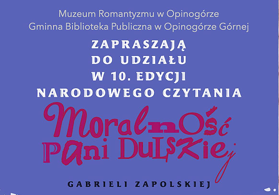 Zdjęcie plakatu z informacją o organizowaniu w Opinogórze Narodowego Czytania.