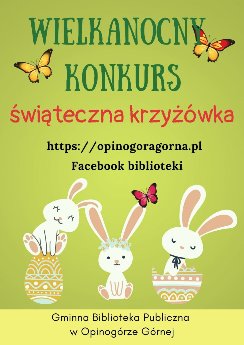 Zdjęcie plakatu informującego o wielkanocnym konkursie - świątecznej krzyżówce