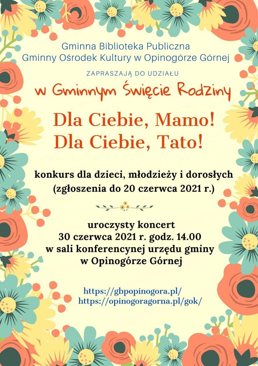Zdjęcie plakatu informującego o Gminnym Święcie Rodziny w Opinogórze Górnej.