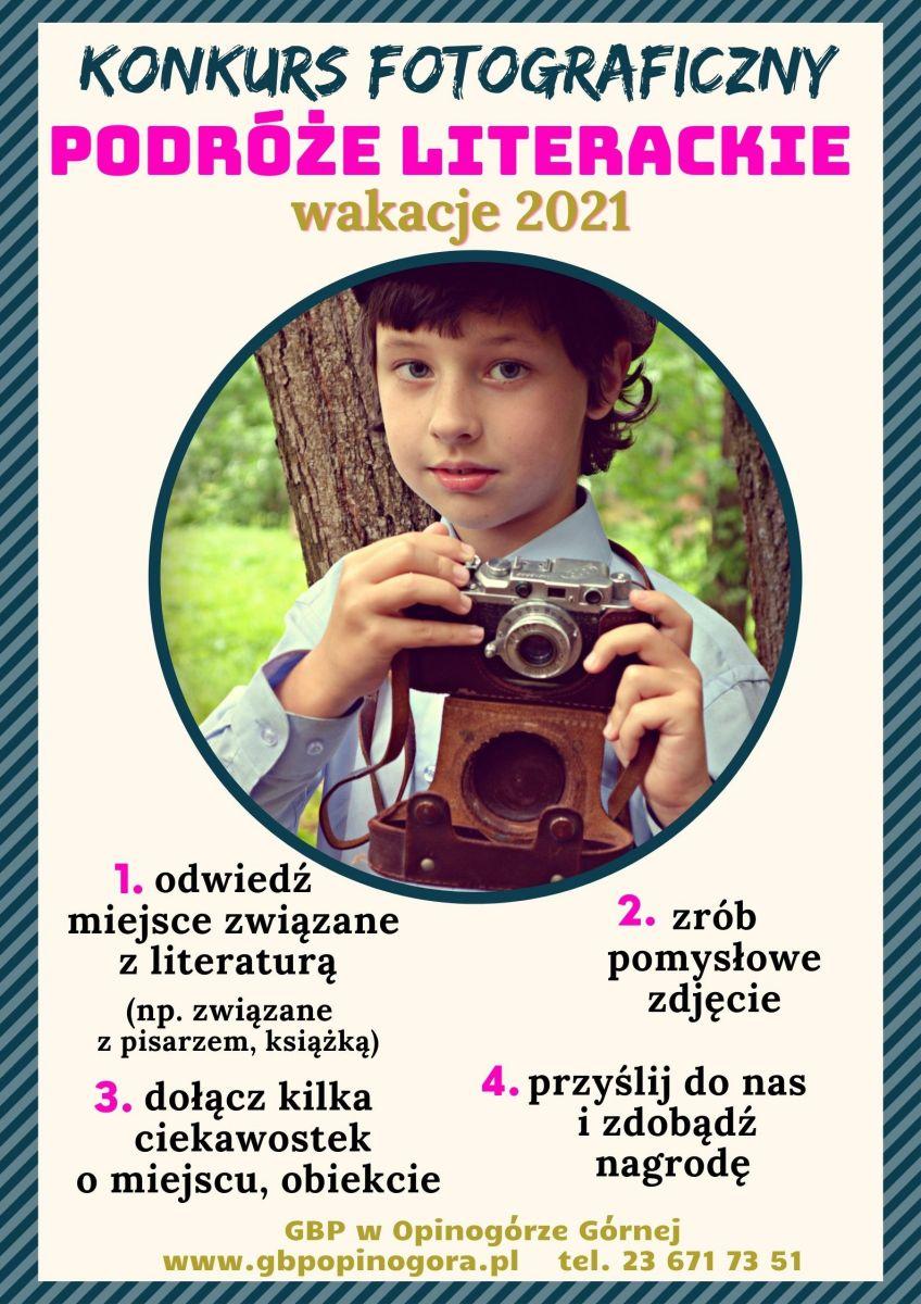 Zdjęcie plakatu informującego o wakacyjnym konkursie fotograficznym.
