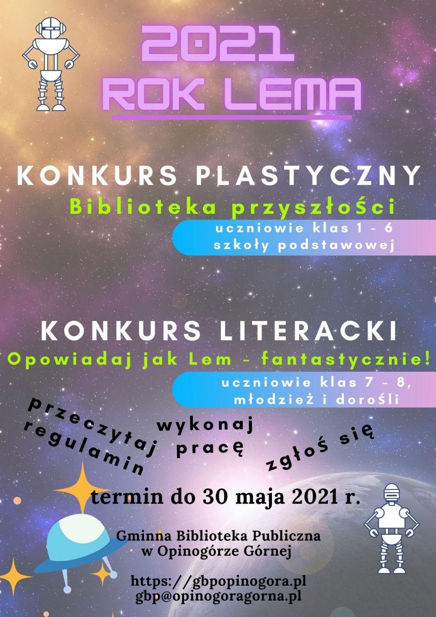 Zdjęcie plakatu informującego o konkursie plastycznym i konkursie literackim.
